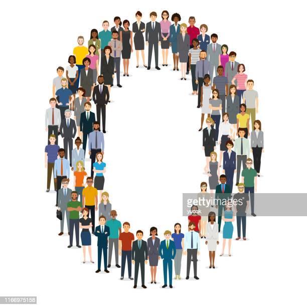 数ゼロ0に集まる大勢の人々 - ゼロ点のイラスト素材/クリップアート素材/マンガ素材/アイコン素材