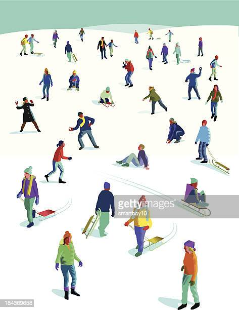 large group of people having fun in the snow - tobogganing stock illustrations, clip art, cartoons, & icons