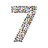Large group of people in number 7 seven form. People font. Vector illustration