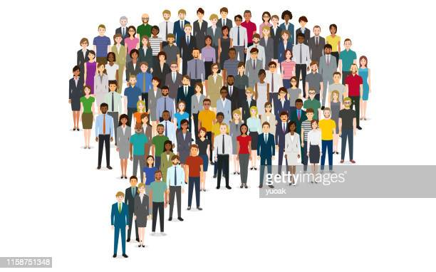 large group of people in the chat bubble shape - large group of people stock illustrations