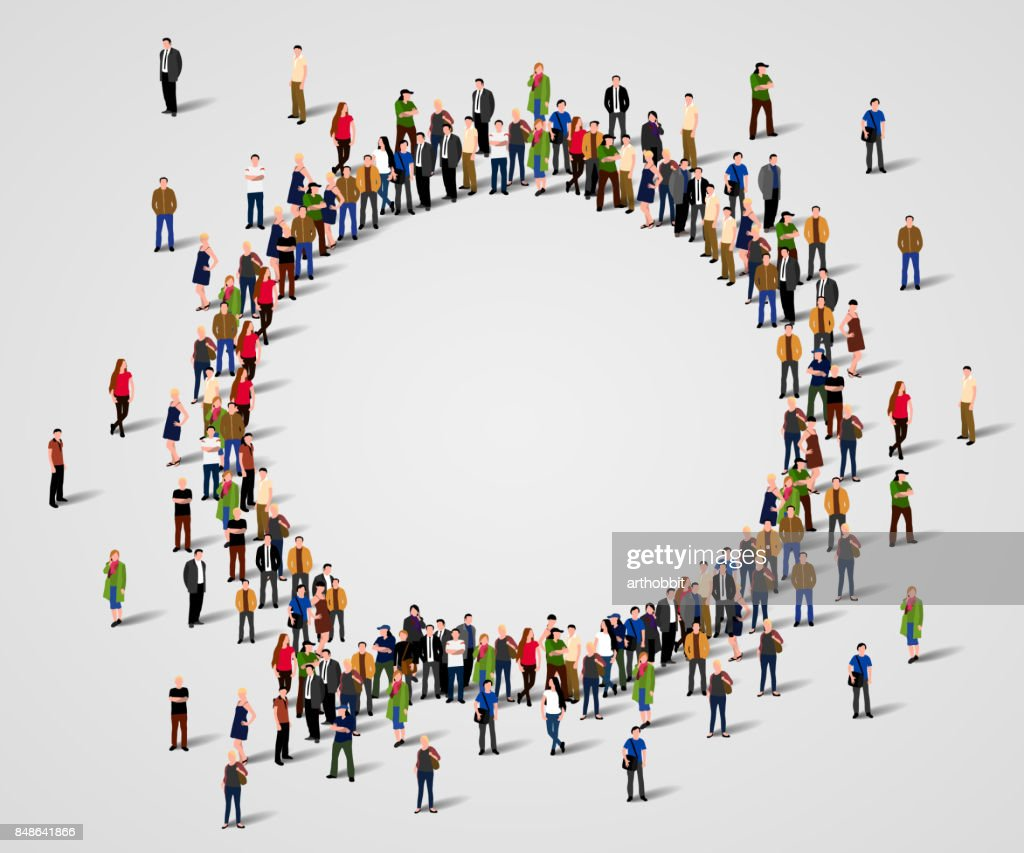 Large group of people in the chat bubble shape.