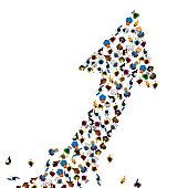 Large group of people in the shape of a grossing arrow, Way to success bussiness concept, Vector illustration