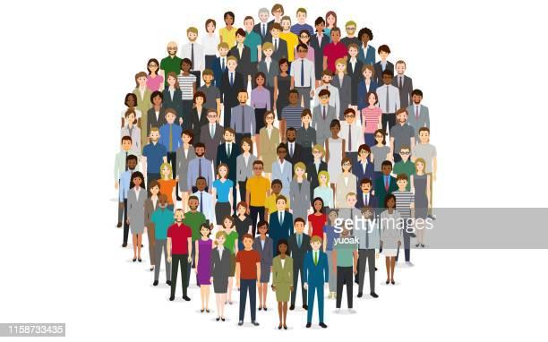 große gruppe von menschen in form des kreises - publikum stock-grafiken, -clipart, -cartoons und -symbole