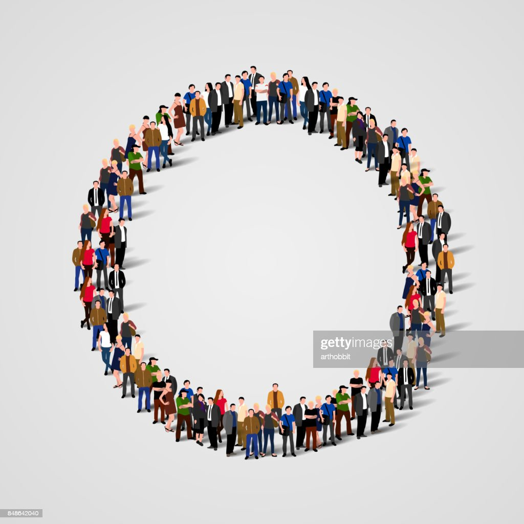Large group of people in the shape of circle.