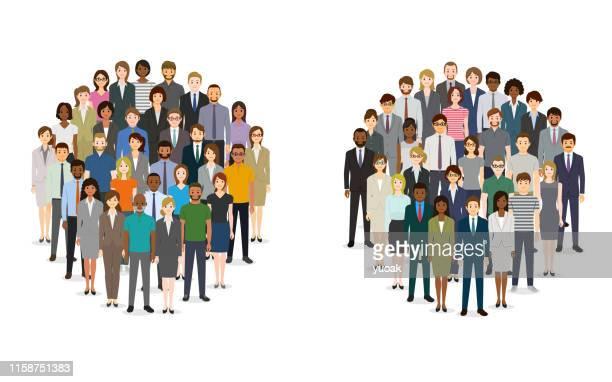 ilustraciones, imágenes clip art, dibujos animados e iconos de stock de gran grupo de personas en forma de círculos - grupo de personas