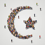 Large group of people in the shape of Star and crescent. Islam sign. Muslim background. Religious symbol.