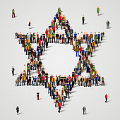 Large group of people in the Star of David shape. Judaism sign. Jewish background. Religious symbol.