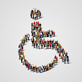 Large group of people in the wheelchair shape.