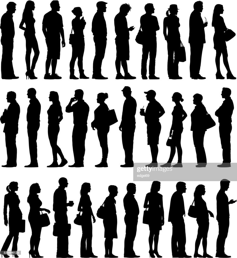 Large Group of People Silhouettes Waiting in Line : Stockillustraties