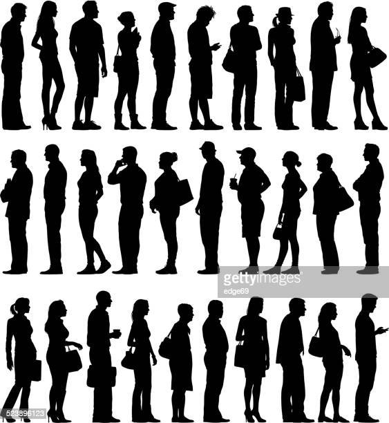large group of people silhouettes waiting in line - side view stock illustrations