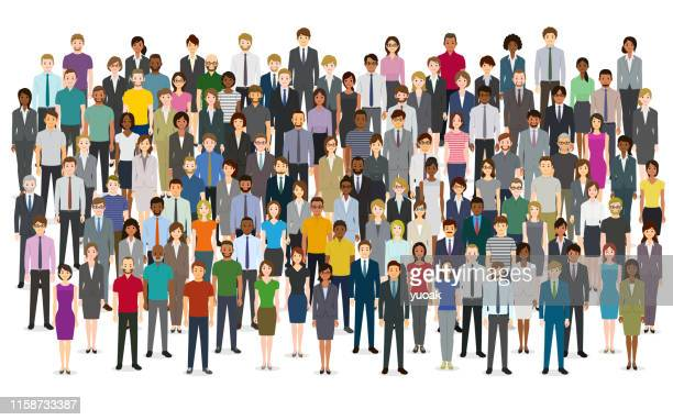 large group of people - diversity stock illustrations