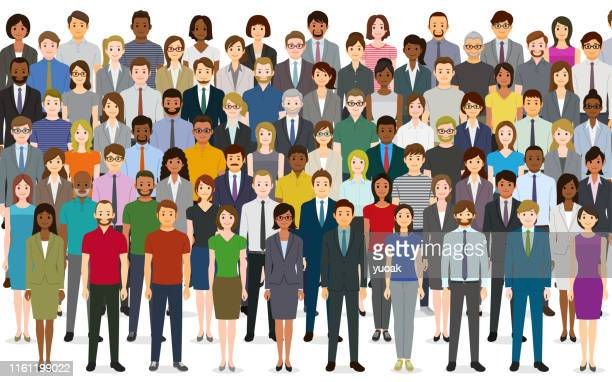 large group of people - political crowd stock illustrations