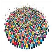 Large group of stylized people in the shape of a circle.