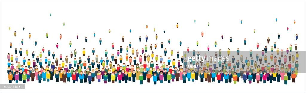 Large group of stylized people in the shape of a long strip.