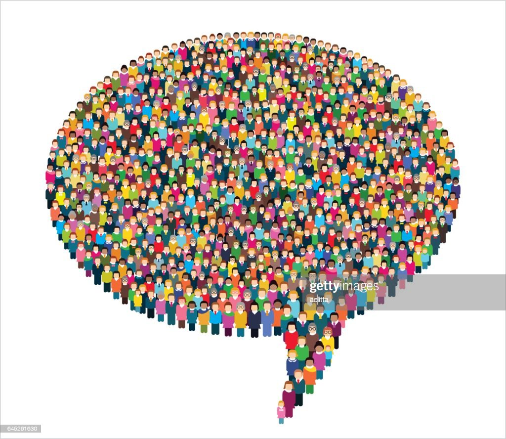 Large group of stylized people in the shape of a speech bubble.