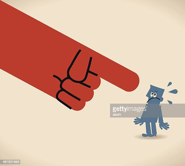 large hand pointing at man - blame stock illustrations