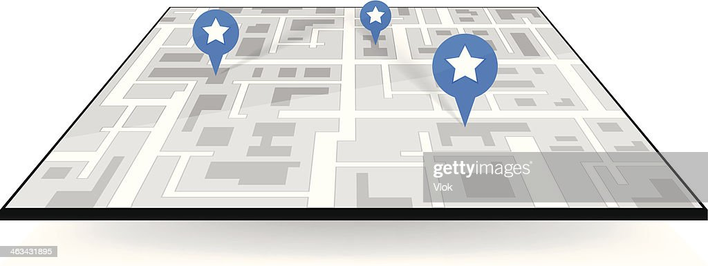 large icon gps navigation. map with pointers