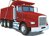 A large image of a red dump truck on a white background