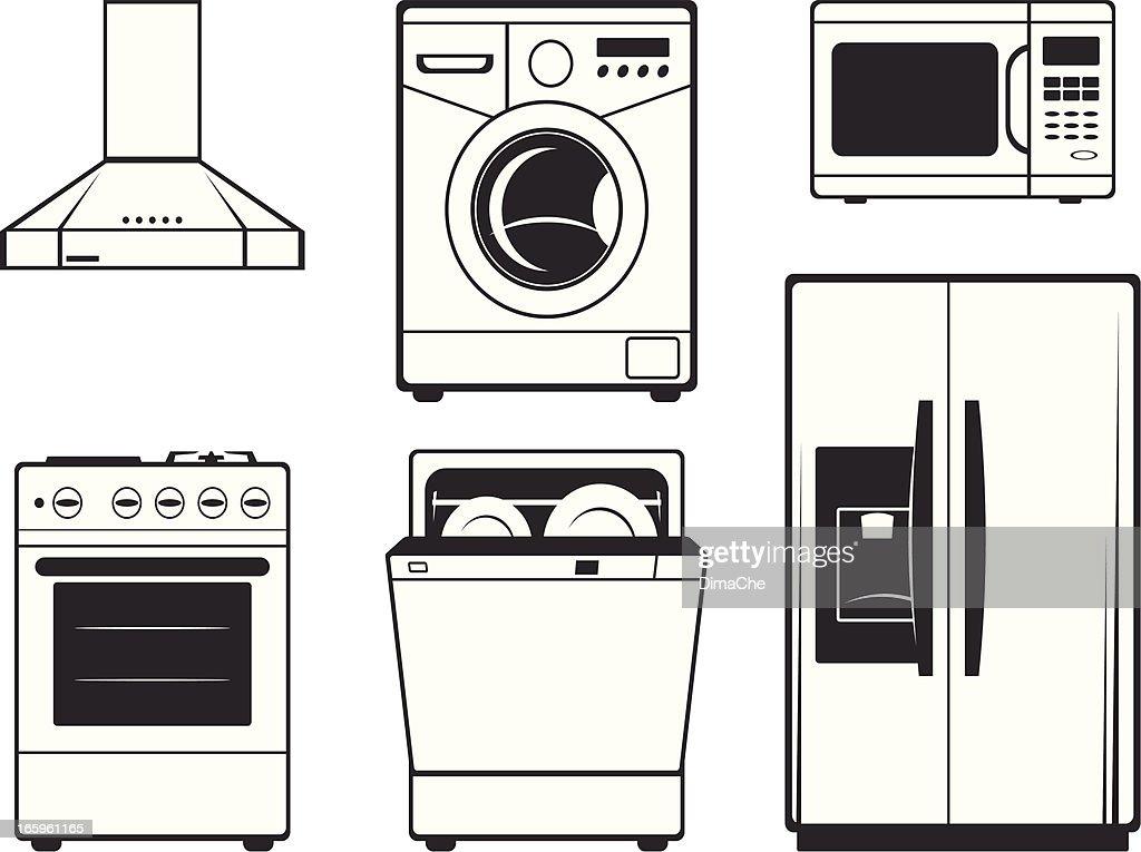 Large kitchen technics : stock illustration