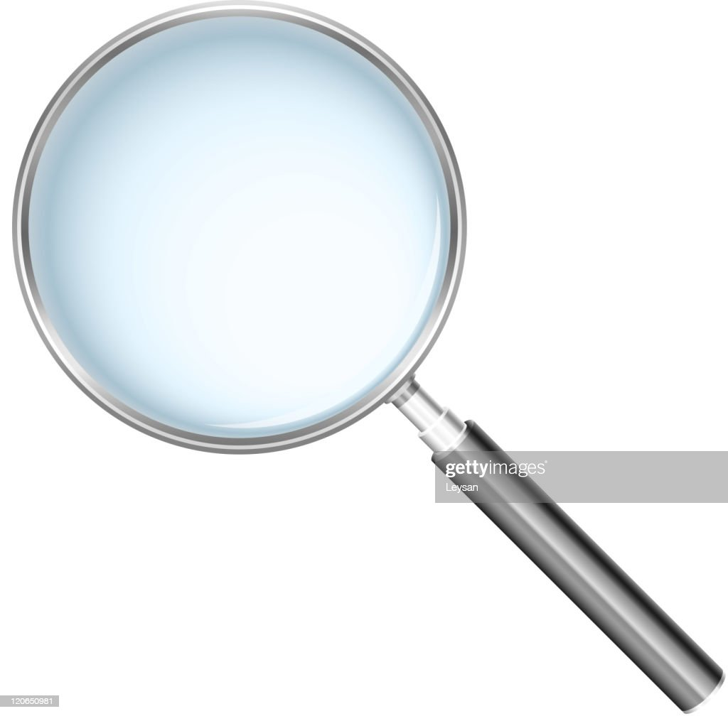 A large magnifying glass on white background
