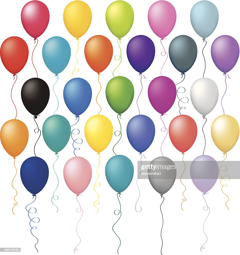 Large Multi Colored Birthday Balloon Celebration Vector Illustration Collection Set