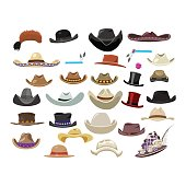 Large set of 29 vintage hats in different style