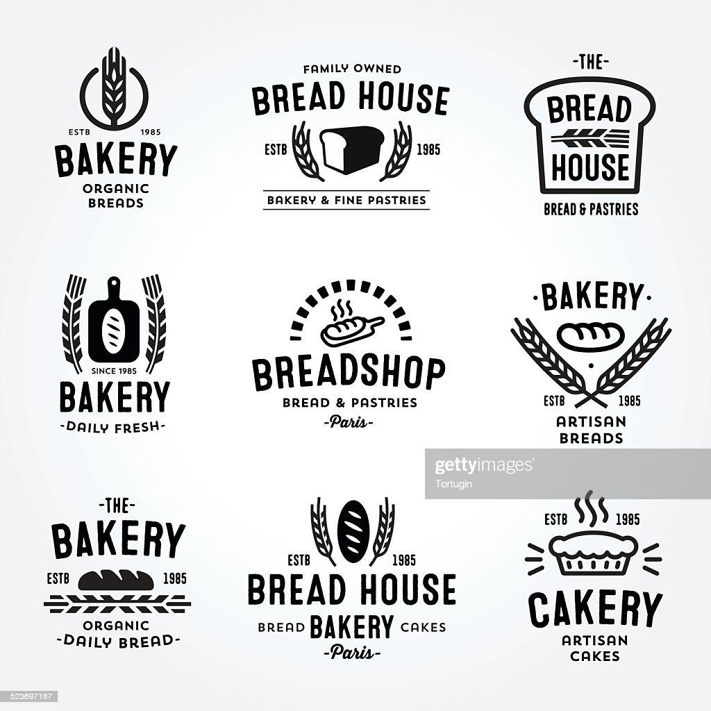 Large Set of bakery badges and logos