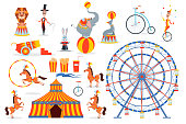 A large set of circus characters and objects