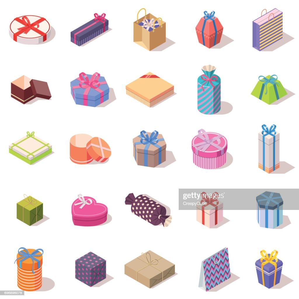 Large set of different gift boxes.