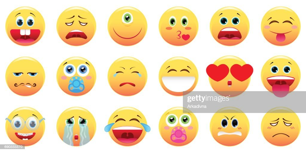 Large set of different smileys. Vector illustration in a cartoon style.