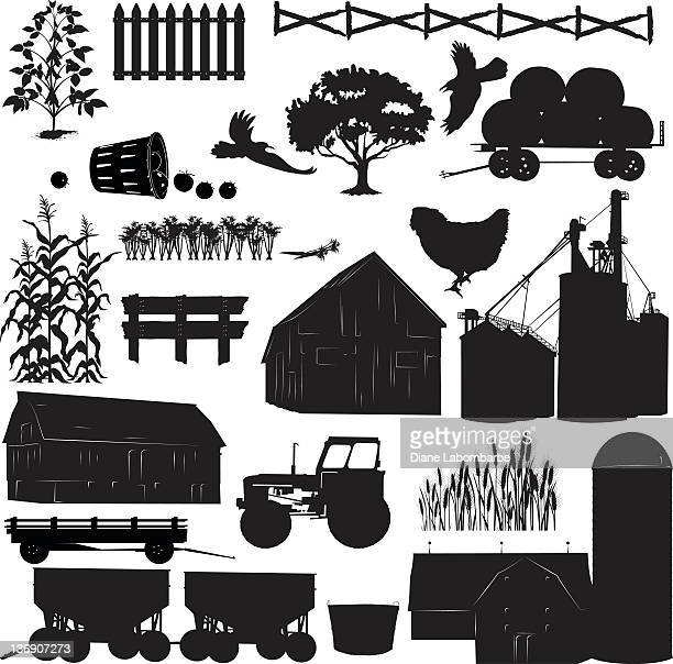 Large set of Farm and Agriculture Elements Black Icon Silhouettes.