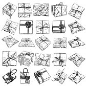 Large set of gift box doodle sketch. Wedding, birthday, black Friday concept. Wrapped box for Boxing, New year,  Christmas idea. Design of Valentine or anniversary day online store, shopping. Vector.