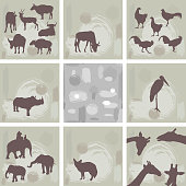 large set ofAfrican animals and abstract seamless pattern. Silhouette. Vector