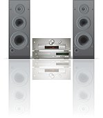 Large sound system against a white background