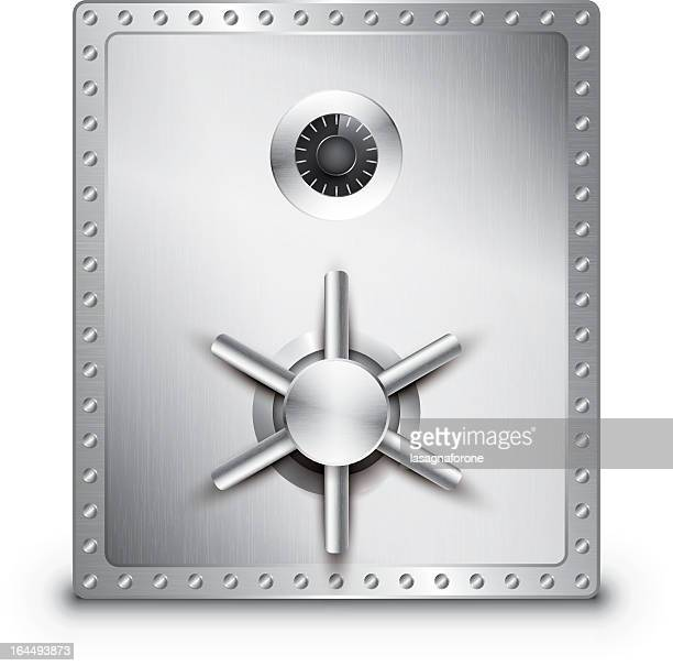 a large stainless steel locked safe on a white background - safe stock illustrations