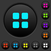 Large thumbnail view mode dark push buttons with color icons