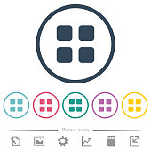 Large thumbnail view mode flat color icons in round outlines