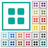 Large thumbnail view mode flat color icons with quadrant frames