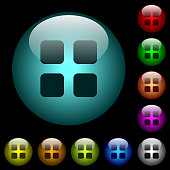 Large thumbnail view mode icons in color illuminated glass buttons