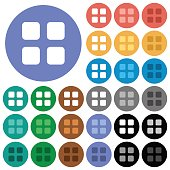 Large thumbnail view mode round flat multi colored icons