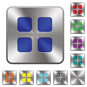 Large thumbnail view mode rounded square steel buttons