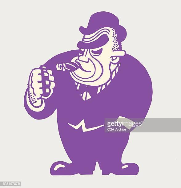 Large Tough Man Smoking a Cigar