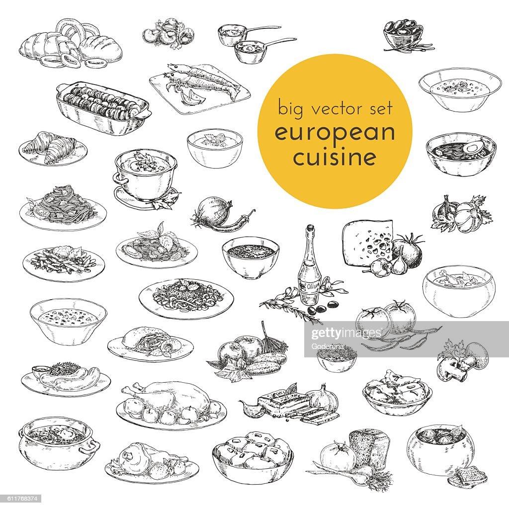 large vector set hand drawn illustrations of food. European cuisine.