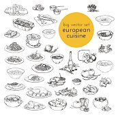large vector set hand drawn illustrations of food. European cuisine.