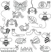 Large Vector Set of Cute Cartoon Bugs Line Art