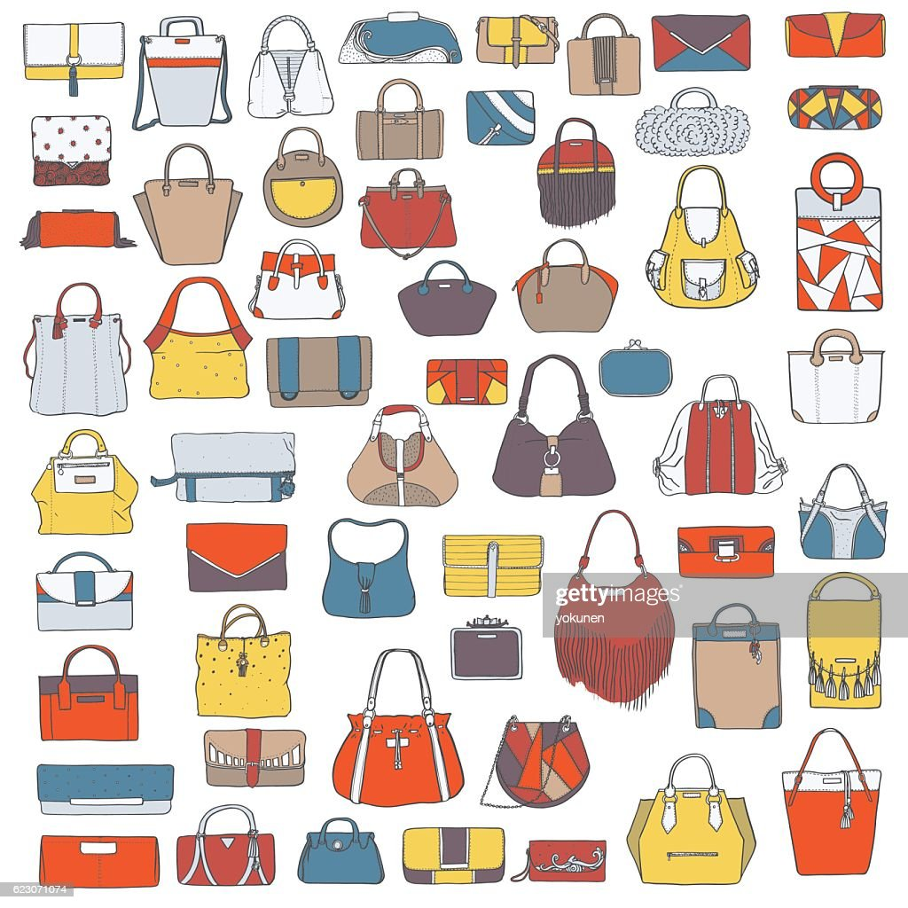 Large vector set of doodle hand drawn fashion bags