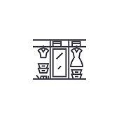 large wardrobe vector line icon, sign, illustration on background, editable strokes