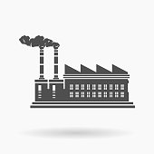 Large Warehouse Factory Building Icon Vector Illustration Silhouette.