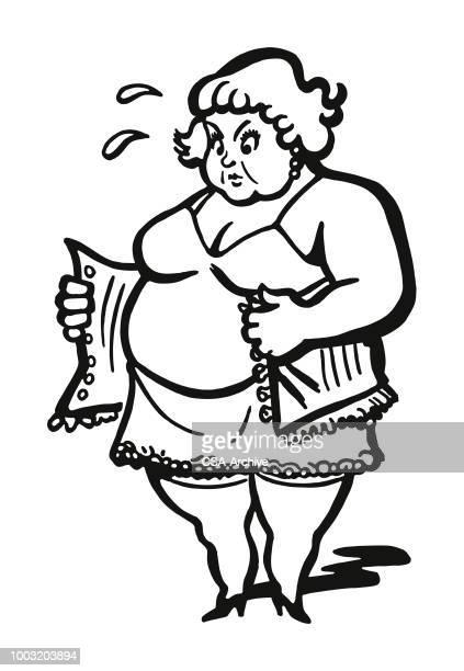 large woman putting on a corset - en búsqueda stock illustrations