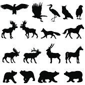 Large woodland animal silhouette set